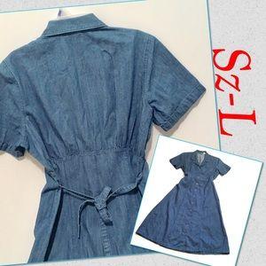 Vtg classic denim shirt dress Sz L waistband
